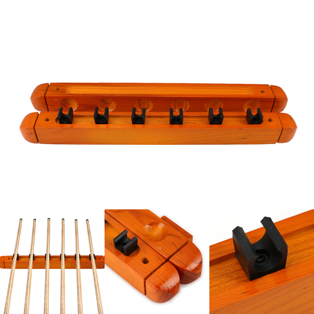 1 Pair High Quality Billiard Pool Wall Mount Hanging 6 Cue Sticks Solid Wood Rack Professional and Holder for Snooker Promotion