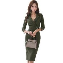 e34753c368 JSXDHK Business Army Green Women Pencil Dress Korean Spring Autumn Sheath  Notched Collar Office Dress Bodycon Slim Work Dress