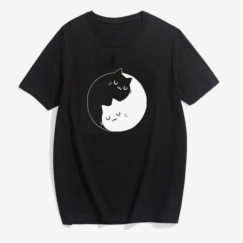 Black White Cat Print Women Tshirts Casual O-Neck Short Sleeve Kawaii  Summer Tops for Women Fashion Ladies Tees Plus Size S-3XL