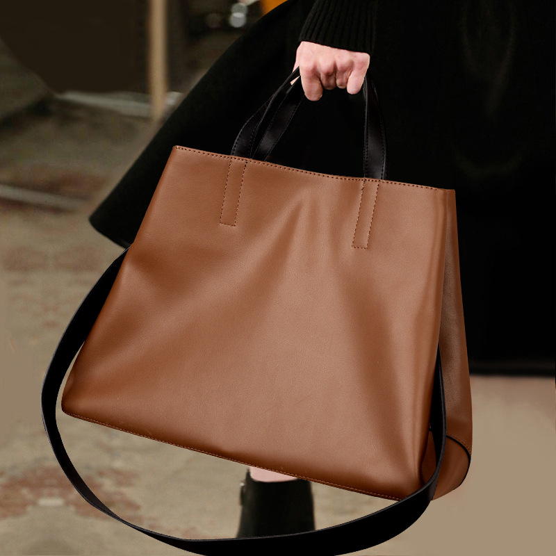 New fashion atmosphere cross section leather handbag Simple and versatile large capacity shoulder bagNew fashion atmosphere cross section leather handbag Simple and versatile large capacity shoulder bag