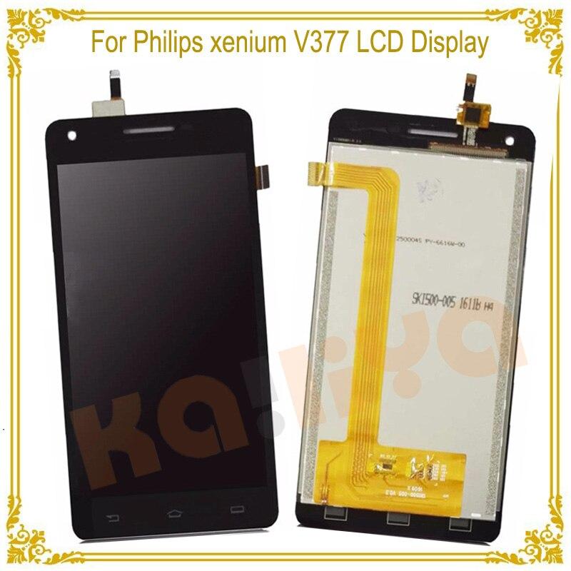 Negro de la Pantalla Táctil + Pantalla LCD Para Philips xenium V377 5.0 Pulgadas