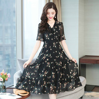 2019 Summer Casual Floral Print WomenDresses Sexy V neck Short Sleeve Chiffon Party Dress Vestidos Plus Size 5XL