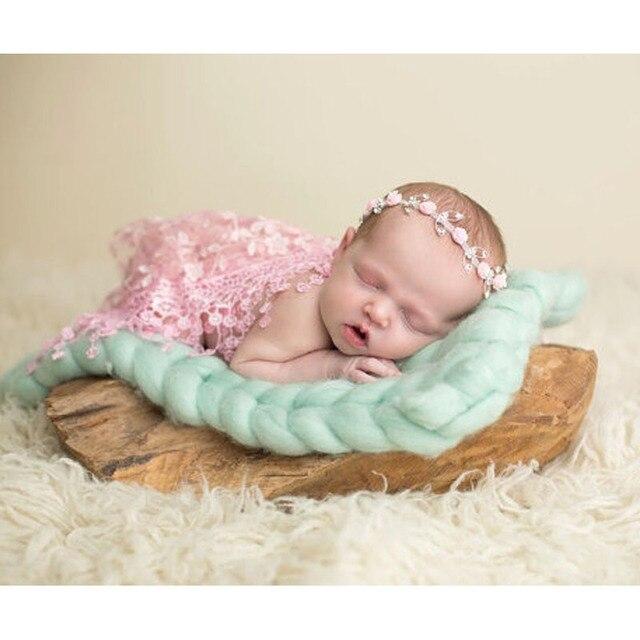 55*55cm Wool Fiber Blanket Basket Filler Braid Blanket Basket Stuffer Newborn Photography Props Baby Shower Gift ZQY003