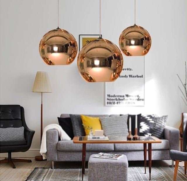 Wonderland Modern Copper Sliver Shade Mirror Chandelier Light E27 LED Pendant Lamp Modern Christmas Glass Ball Lighting