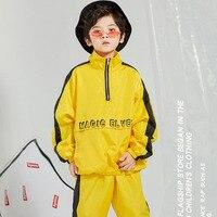New Children'S Street Dance Set Boy Loose Yellow Hip Hop Costume Kid Hip Hop Performance Costumes Winter DQL139