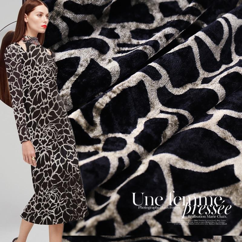 Leopard Print Velvet Silk Fabric Soft And Delicate Dress Fabric Cheongsam Silk Velvet Fabric Wholesale Silk Cloth 114cm