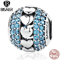 VOROCO New 925 Sterling Silver Heart To Heart Charms With Blue Small Crystals Beads Fit Charm