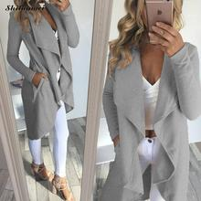 New Autumn Fashion Women's Wool Blend Trench Coat Casual Long Outerwear Loose Clothing for lady manteau femme hiver grey coat