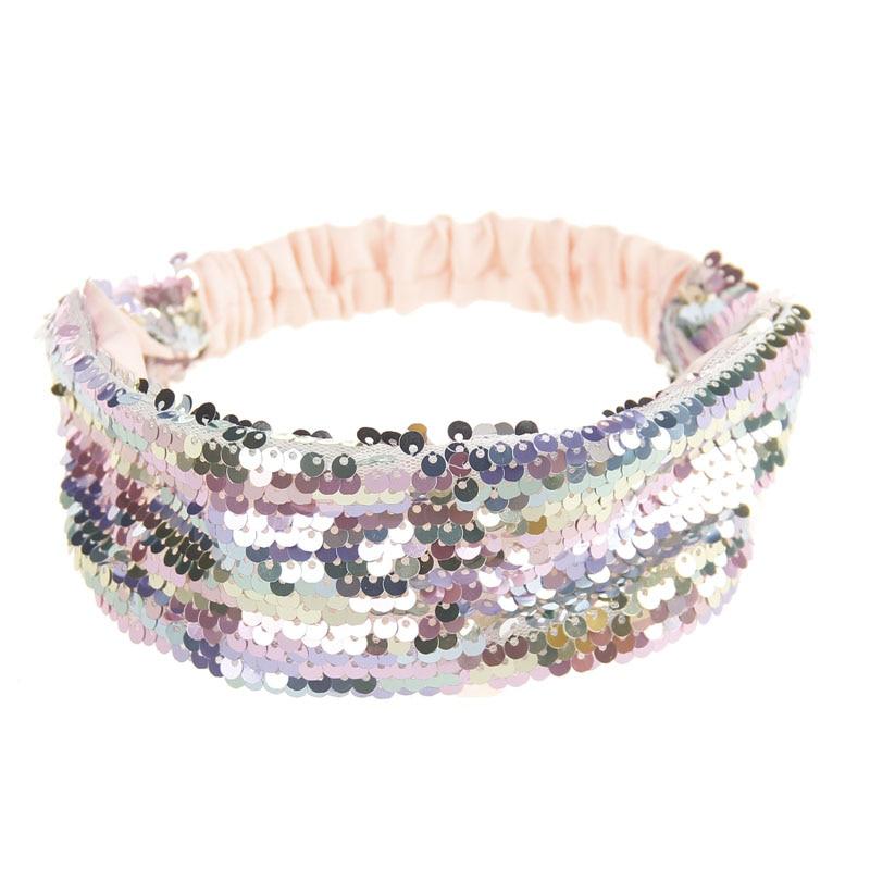 Rainbow Reversible Sequins Headband Women Girl Dance Party Glitter Hairband Boutique   Headwear   Hair Accessories Elastic Hair Band