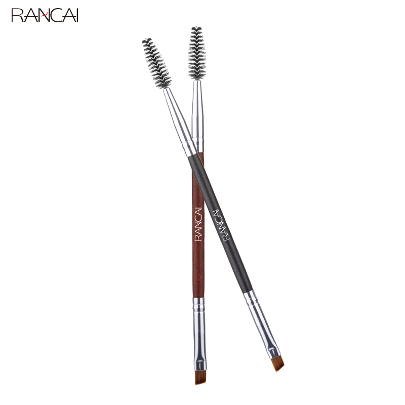 RANCAI Duo Eyebrow Brush Angled Eyebrow Comb Professional Beauty Makeup Brushes For Lash Eye Brow Brush Blending Make-up Tools