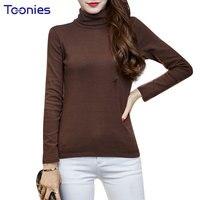 Womens T Shirt Tops Cotton Turtleneck T Shirts Long Sleeved Slim Basic Tees Top Slim Female
