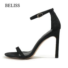 589c9dac37 BELISS 2019 Peep toe Pumps Ladies Bling High Thin heels Women Pumps Sandals  Hollow Sexy Woman Sandals Dress Shoes Big size S27-2