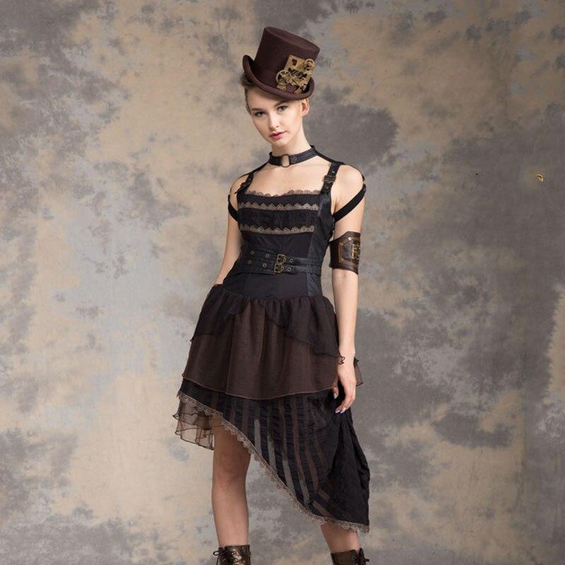 2018 Newest Women Steampunk Asymmetrical Hem Rock Punk Dresses Spaghetti Strap Elastic Waist Retro Maxi Uniform Dress Vestdios