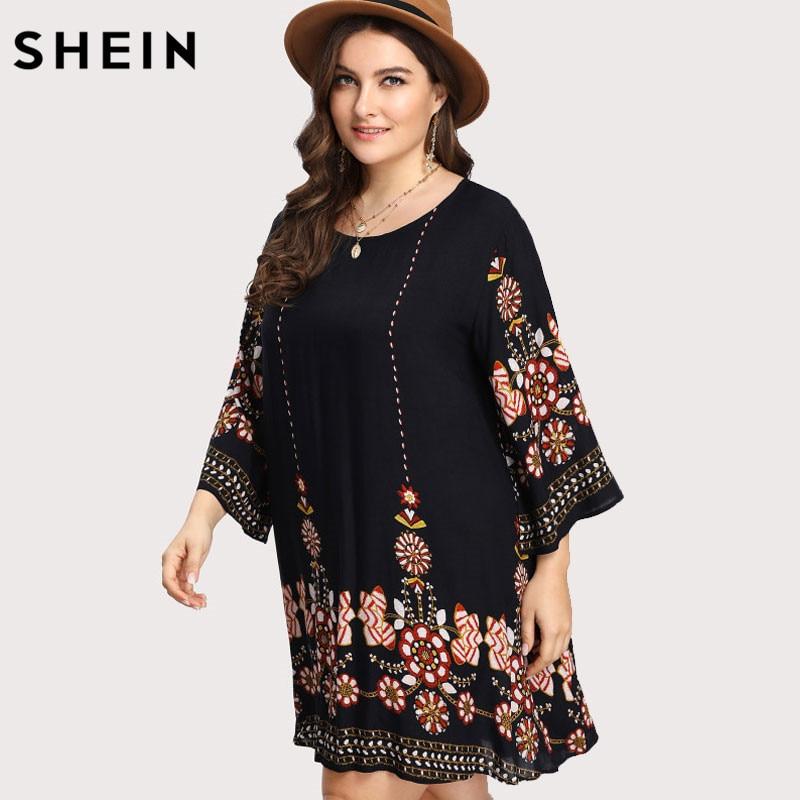 SHEIN Black Plus Size Floral Embroidery Tunic Dress Spring Summer Elegant Large Sizes Tribal Flower Print Vocation Dress