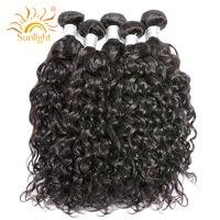 Sunlight Human Hair Remy Hair Bundles Brazilian Water Wave Human Hair Weaves Sew In Hair Extensions