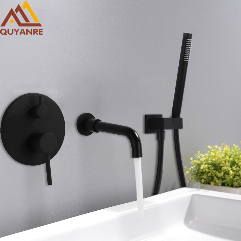 Quyanre Black Chrome Concealed Basin Sink Faucet Wall Mount 360 Rotation Spout Single Lever Mixer Tap