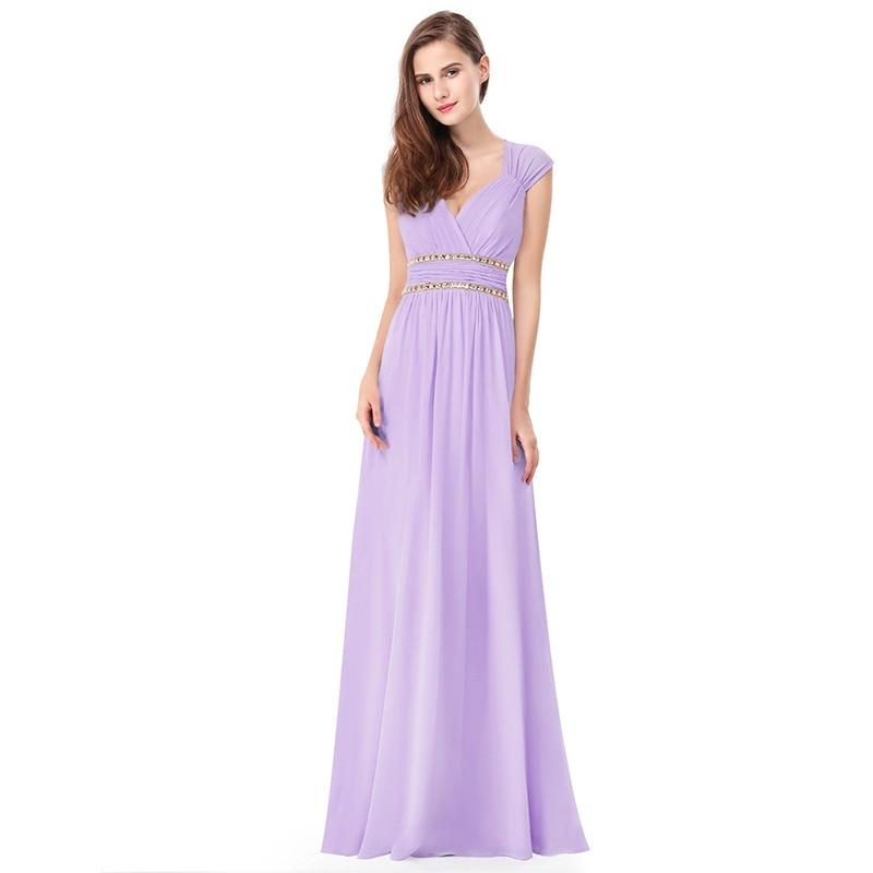 af076f487b 2019 Elegant Long Cheap Lilac Evening Dresses with Lace Appliques Ever  Pretty Purple Women Party Dresses