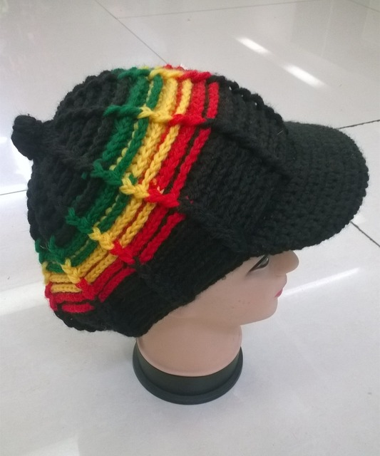 f901a8a306b3a Bob Marley Jamaica Rasta Beanie Hat Warm Cap Winter Reggae Multi-colored  Stripe Hip Hop