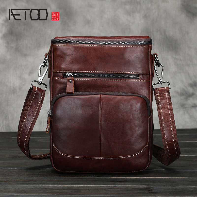 AETOO Shoulder bag men 's oil wax first layer of leather Messenger bag men' s leather business package official package tide leather handbag shoulder bag casual first layer of leather men s oil wax messenger bag korean man bag tide