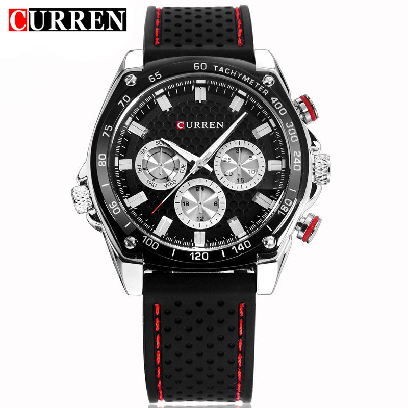 Curren Military Sport Men Quartz Watch Brand Luxury Black Silicone Waterproof Mens Watches Casual Male Clock Relogio Masculino curren top brand luxury mens watch men watches male casual quartz wristwatch leather military waterproof clocks sport clock 8225