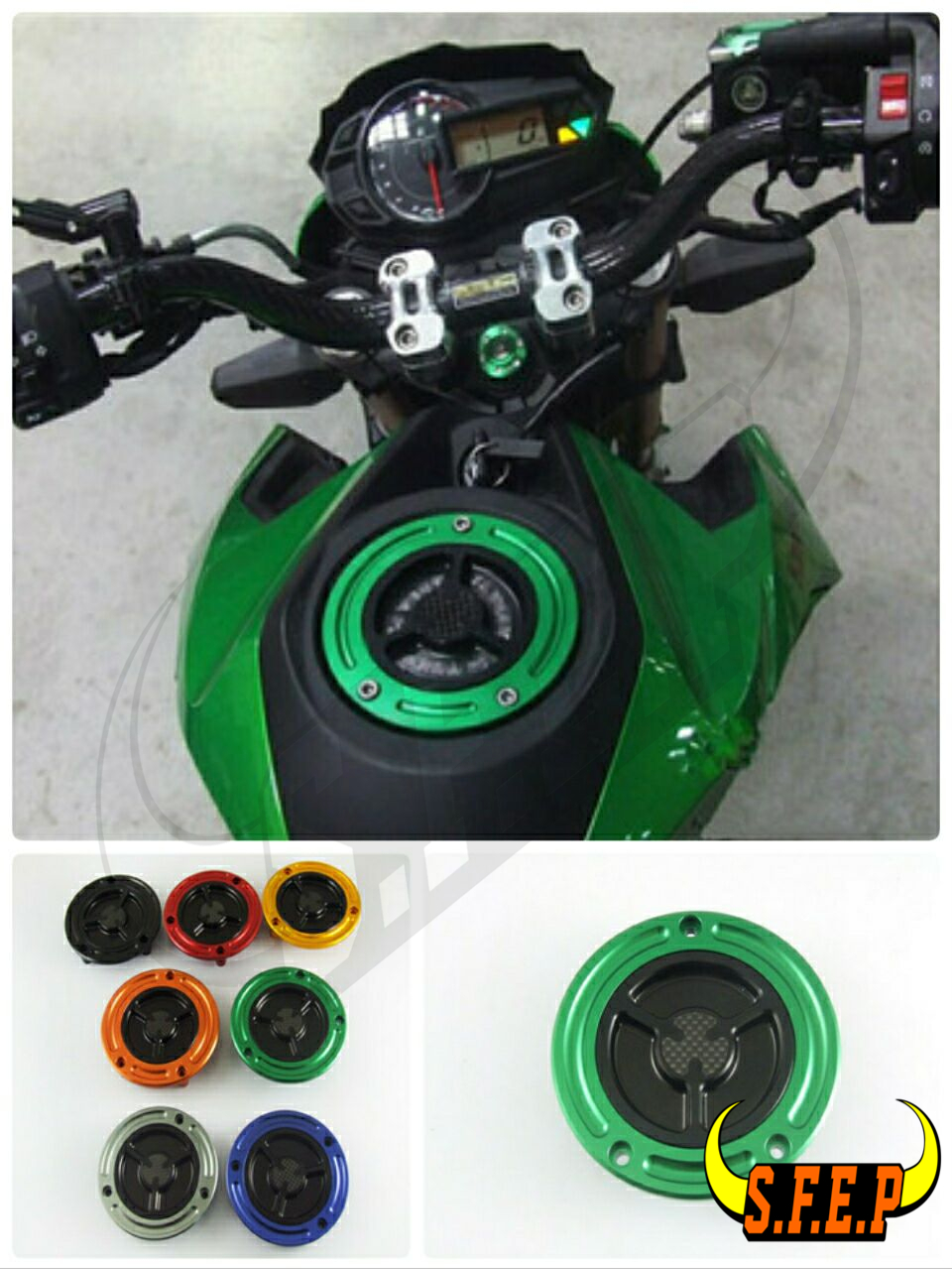 Moto Carburant Bouchon Du Réservoir De Gaz En Fiber De Carbone Inlay Essence Cove Pour Kawasaki Z125 Z750 Z800 Z1000 ZX6R ZX10R Ninja250/300