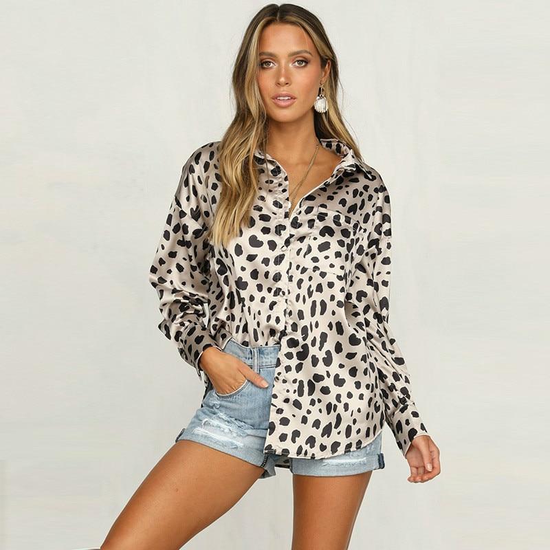 e557494a194 Атлас Leopard женская блузка с длинным рукавом сорочка Femme осень Кнопка  подпушка рубашка для женщин