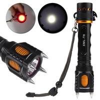 2000LM Yüksek Kalite XM-L T6 LED El Feneri Torch Dört Saldırı Başkanı Sesli Alarm Lampe Torche Su Geçirmez Flaş Işık Öz Savunma