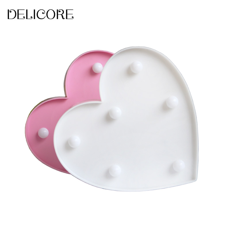 DELICORE New Romantic Heart Night Lamps 3D Marquee Letter LED Night Light Home Indoor Bedroom Decoration Kids Gifts S011 romantic heart star cloud lamps 3d led table night light battery operated home indoor bedroom party decoration kids gifts