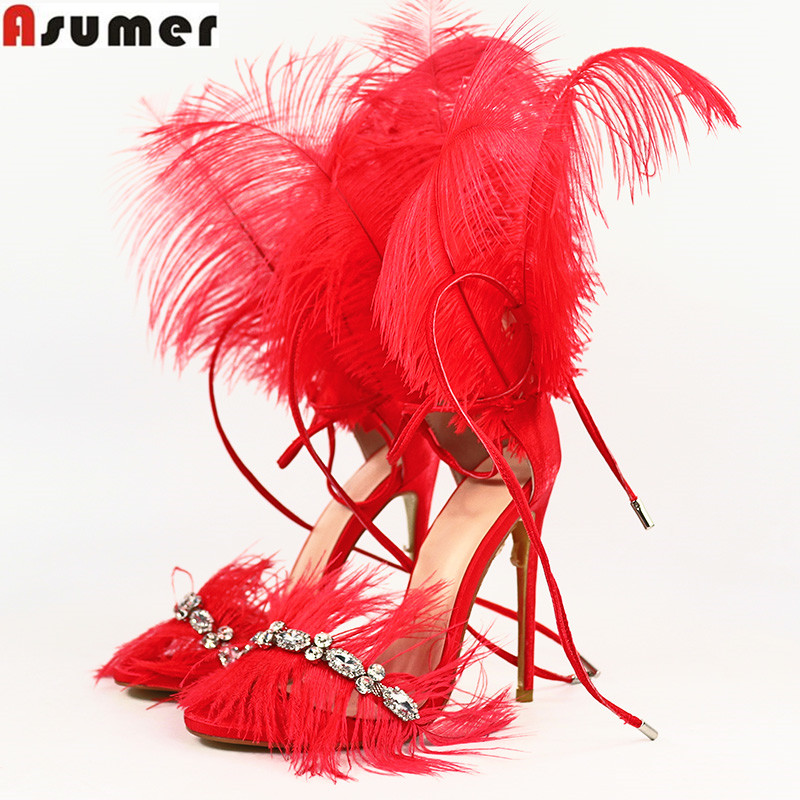 ASUMER Plus size 35 45 Mode vrouwen sandalen strass stiletto hoge hakken wedding party schoenen dames veer dance show schoenen-in Hoge Hakken van Schoenen op  Groep 1
