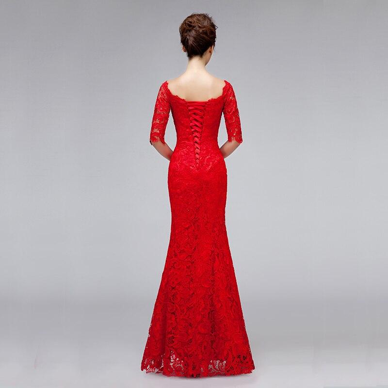 DongCMY luxe mariée couleur rouge 2019 robe de soirée longue formelle décolleté dentelle bandage à manches moyennes femmes robe robes de soirée - 2