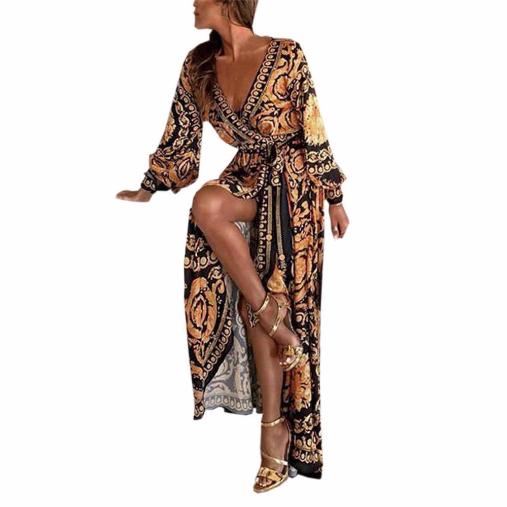 Sukienka dla kobiet Boho Retro z długim rękawem plaża sukienka głęboki sukienka z dekoltem w serek koktajlowa, balowa sukienka suknia Vestidos De Festa sukienka #20