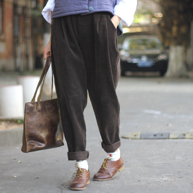 Women Pants 2019 Winter  Corduroy Harem Pants Full Pants   Casual Trousers Elastic Waist Pants Solid Color Trousers S64