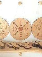 Boho סימן פלאק אהבת אירוסין חתונה עץ עץ טבעי כפרי עיצוב אמנות קיר גפן משתלת