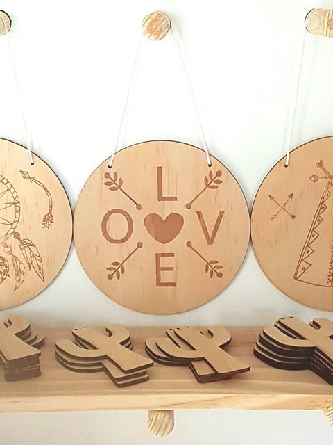 Boho Love Plaque Sign Vine Natural Wood Wall Art Decor Rustic Timber ...