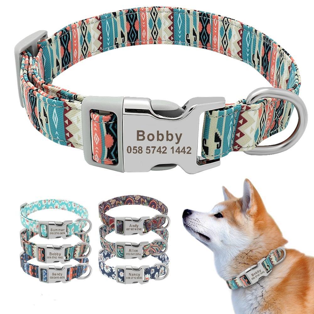 Collar personalizado impreso para mascotas, Collar de nailon para perro, personalizado, grabado gratis, Collar de nombre de cachorro, para perros pequeños, medianos, grandes, Pug