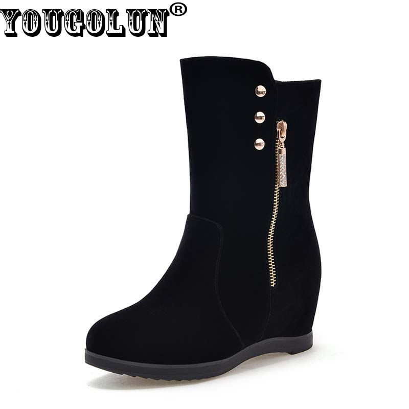YOUGOLUN Women Ankle Boots 2017 New Autumn Winter Wedges Heel 6 cm Button Zipper Black High Wedge Heels Round toe Shoes #Y-151 hxrzyz autumn ankle boots women increased wedges new round toe thick heel female anti skid side zipper shoes black winter boots