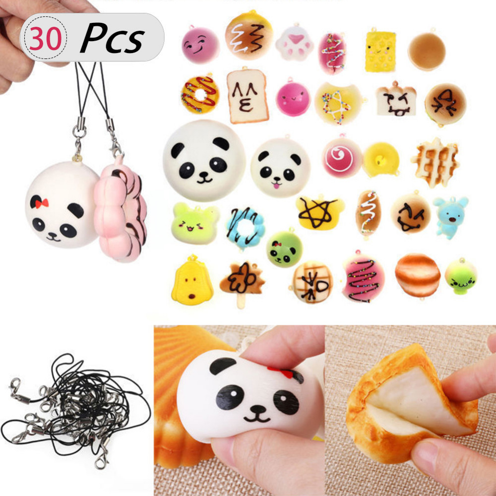 30 PCS Squishy Squeeze Slow Rising Simulation Cake Bread Donut Random Phone Pendant Fun Relieve Stress Relief Healing Toy Set slow resilience relieve pressure toy unicorn cake jumbo squishy