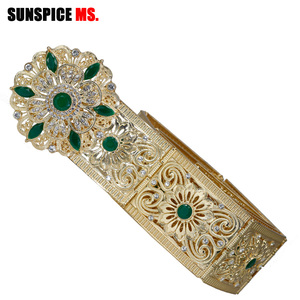 Image 2 - Sunspicems Moroccan Belt Caftan Jewelry for Women Gold Color Red Green Crystal Belly Chain