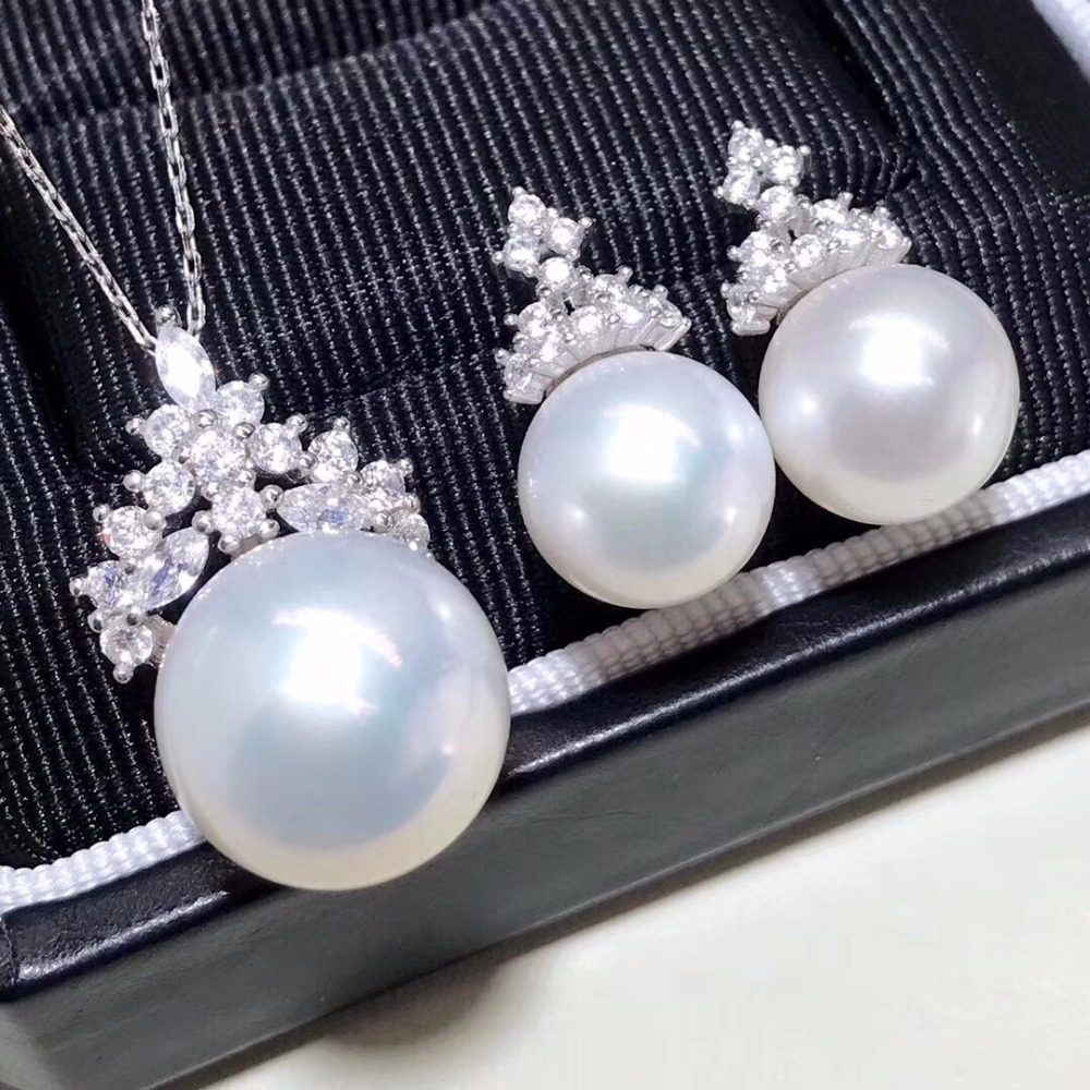 Fashion Jewelry S925 sterling silver Fresh water Pearls 9-10mm and 14mm Pendant Necklace and Earrings Jewelry setsFashion Jewelry S925 sterling silver Fresh water Pearls 9-10mm and 14mm Pendant Necklace and Earrings Jewelry sets