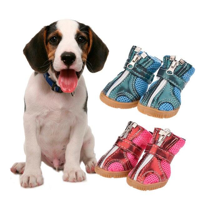 3dcad461fa1439 4 sztuk/zestaw aksamitne buty dla psów zimowe wodoodporne psy buty pcv  gumowe antypoślizgowe obuwie