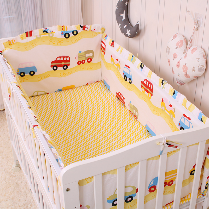 6pcs//bag Baby Crib Bumper Safe Infant Kid Bedding Protector Toddler Thick Cotton