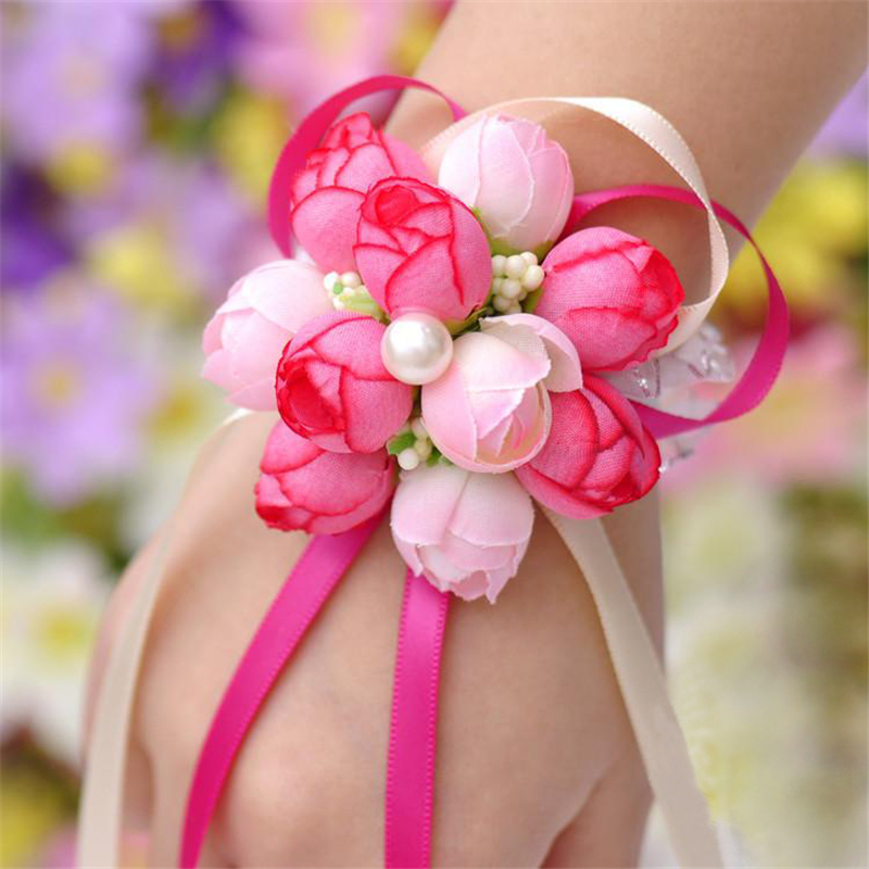 5piecslot handcrafted hand flower bouquet for wedding prom decoration cheap wrist corsage wedding supplies