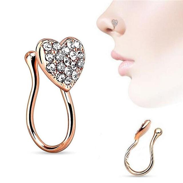 Fashion Fake Nose Lip Ring Heart Shaped Nose Ring Hoop Nose Piercing
