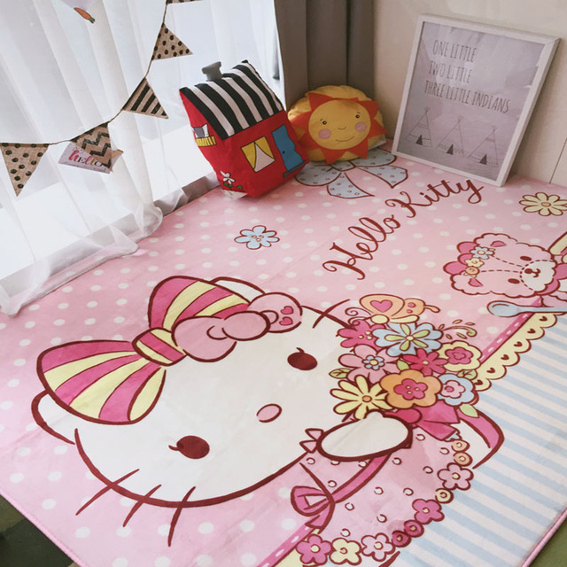 Hello Kitty Carpet For Kids Bedroom Decoration Cartoon Carpets For Living  Room Baby Crawling Mat Anti