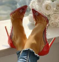 Red Clear PVC Rivets Women Pumps Stiletto Heels Crystal Embellished Wedding Shoes Bride Pointed Toe Shallow Transparent Shoes