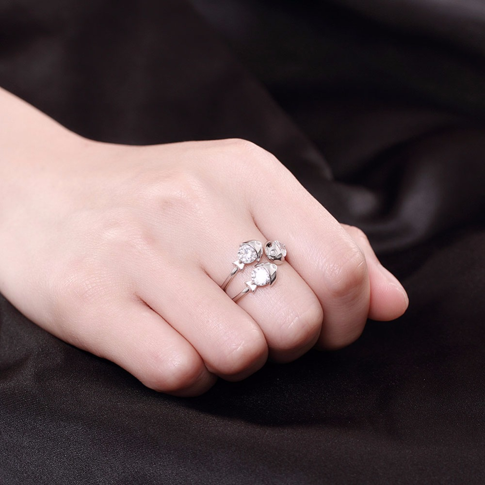 Real 925 Sterling Silver Fish Rings for Women Wedding Open Ring with ...