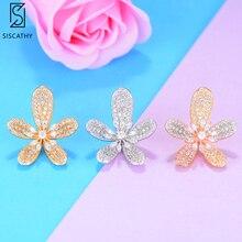 SisCathy Cute Girls Ear Earrings Jewelry Sweet Flower Cubic Zirconia Inlaid Stud Earring Fashion Korean Style Women
