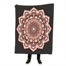 Mandala Floral Blanket Bohemian Flower Boho Bedding Sofa Plaid Velvet Plush Mantas Para Cama