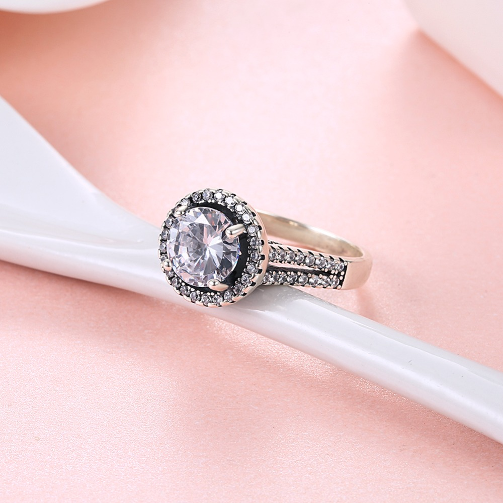 100% Real 925 Sterling Silver Wedding / Engagement Ring with 4A ...