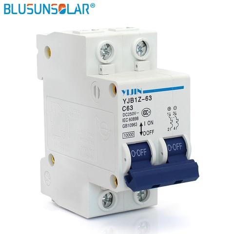 2 p 63a dc250v mcb energia solar fotovoltaica pv solares dc circuit